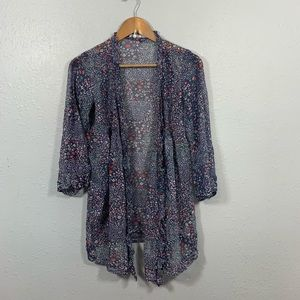 Joie Silk Floral Open Front Cardigan Size S